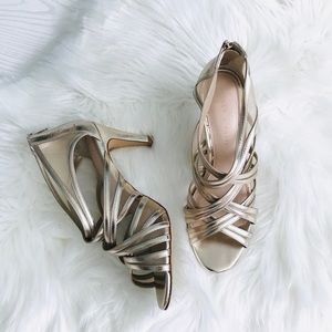 Kelly & Katie Gold Heeled Strappy Sandals Size 9.5